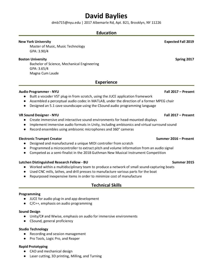 Baylies Resume - July 2018